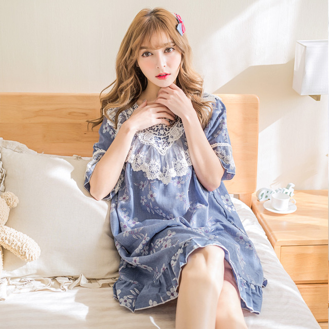 Summer nightgown female princess laciness 100% cotton half sleeve sweet  sleepwear women s lounge fd733f73d