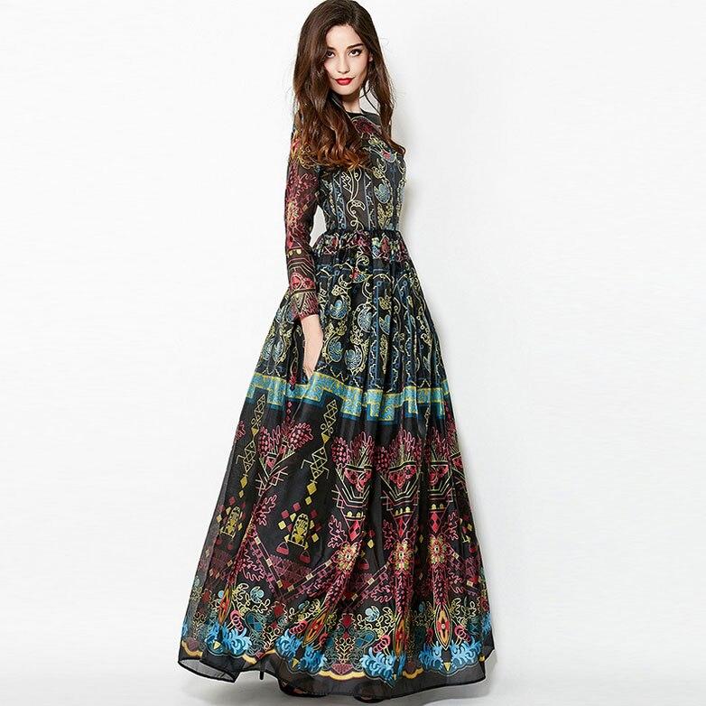 New Arrival 2018 Womens O Neck Long Sleeves Vintage Printed Elegant Runway Dresses