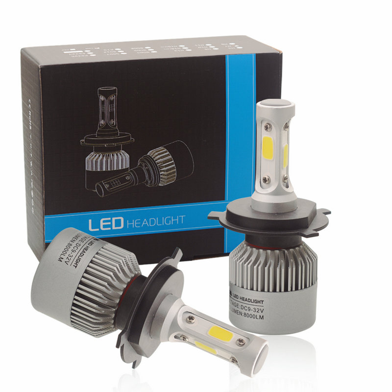 H4 h/l LED H7 H11 9005 9006 HB4 COB Auto Car Headlight 72W 16000LM High Low Beam All In One Automobiles Lamp 6500K White light