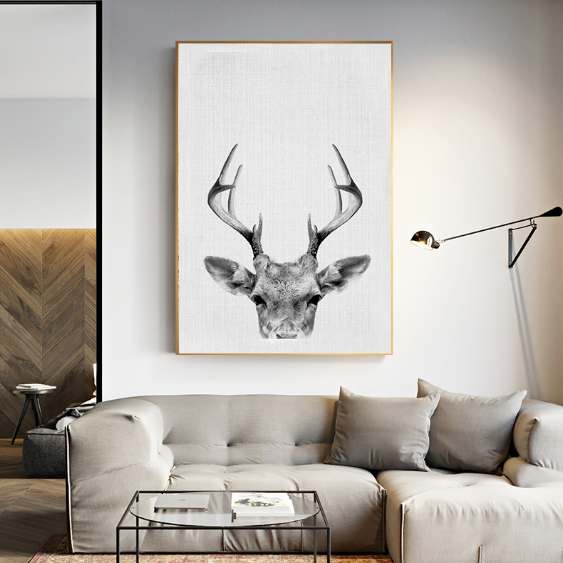 Modern Black And White Deer Animals Canvas Art Painting Print Poster Picture Wall Fashion Home Decor Nordic sytle kids Dcor
