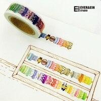 10 stks/partij DIY Cartoon Papier Washi Masking Tapes Meer Tapes Ontwerp decoratieve plakband stickers/Schoolbenodigdheden 15mm * 10 M