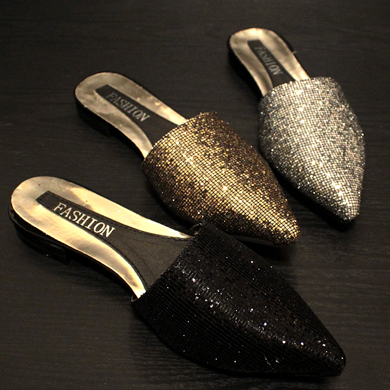 Bling Bling Gold/silver Mules Slides Mujer Summer Western