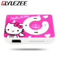 Glylezee hello kitty mp3 reproductor de música con 5 colores de plástico clip de dibujos animados reproductor de mp3 portátil