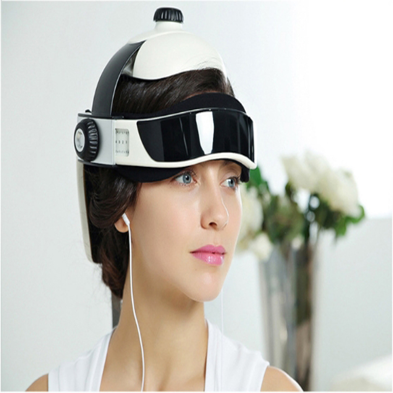 все цены на Helmet Air Pressure Vibration Therapy Massager Music Muscle Stimulator Health Care Electric Heating Neck Head Massage онлайн