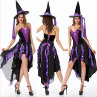 2018New High Quality Purple Witch Cosplay Sexy Costumes Halloween Fashion Exotic Apparel Play Nightclubs Fantasy Women Clothing