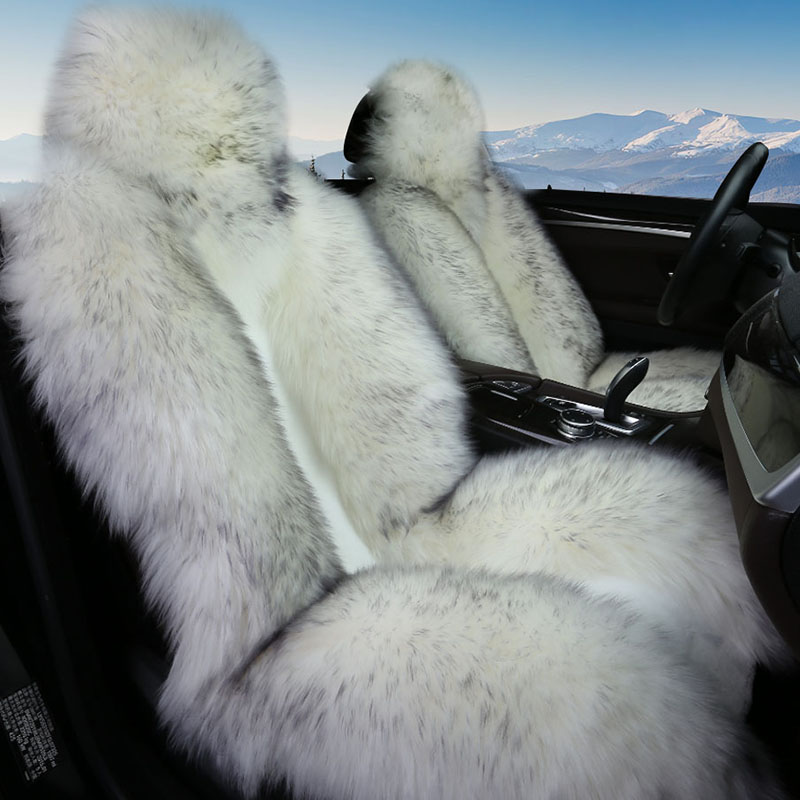 Hiver chaud laine de mouton de voiture housse de siège 100% moutons de fourrure auto siège couvre pour dacia duster hyundai creta lada kalina nissan qashqai