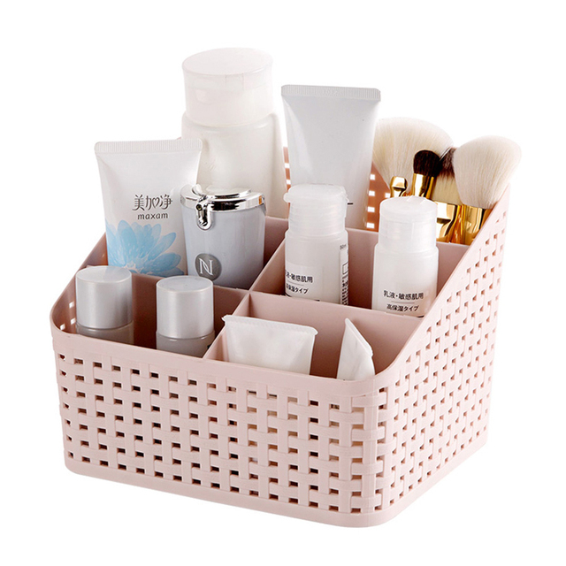 Stylish Hollow Design Plastic Cosmetic Storage Box Desk Remote Control Makeup Brush Holder Office Bathroom Toiletry