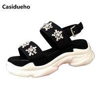 Casidueho Platform Shoes Woman Rhinestone Flats Gladiator Sandals Women Open Toe Buckles Sandalias Mujer 2018 Runway Zapatos 40