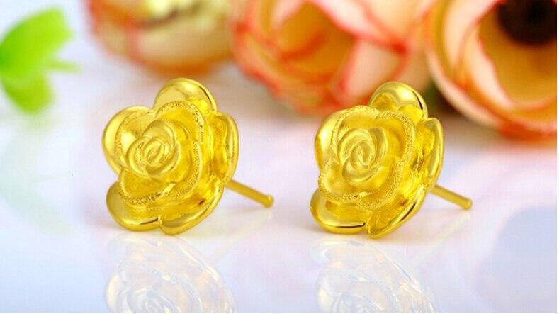 August New 24K Yellow Gold Rose Flower Stud Earrings 12mm 1.8g