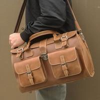 J. м. d Винтаж Crazy Horse кожа сумки Вместительная дорожная сумка чемодан сумка 6001B