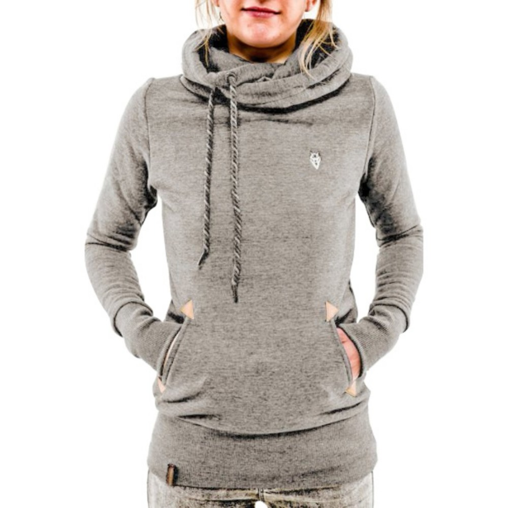 Autumn Winter Scarf Collar Hoodies Women Long Sleeved Pullovers Hoodies  Female Solid Casual Gray Hooded Sweatshirt Female Tops