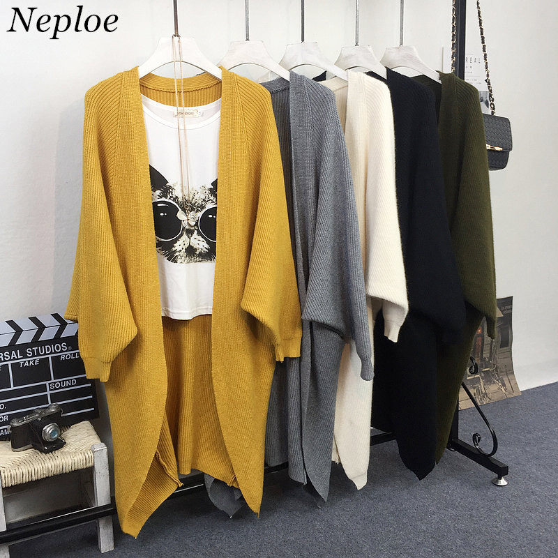 Neploe Knitted Sweater Women Cardigans Korean Autumn Winter Batwing-Sleeve V-Neck Solid