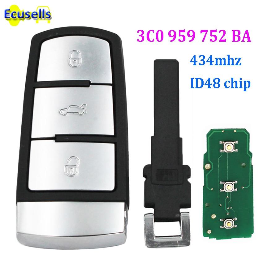 Smart Remote Key Fob 3 Pulsanti 434 Mhz Id48 Chip Per Volkswagen Vw Passat Cc Magotan 3c0 959 752 Ba Con Hu66 Inserire La Chiave Di Plastica