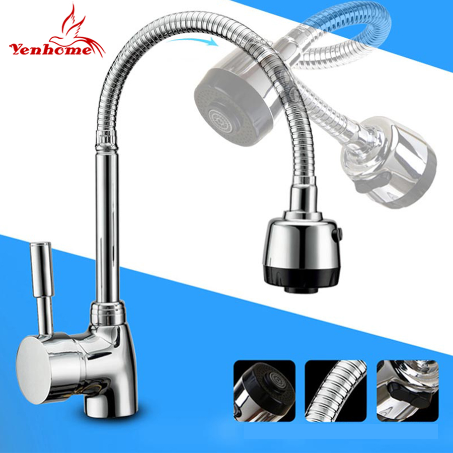 Kitchen Mixer Tap Us 17 28 39 Off Solid Brass Mixer Tap Cold And Hot Water Kitchen Faucet Single Hole Kitchen Sink Tap Multifunction 360 Rotate Faucets Wish Hose In