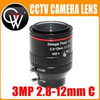 """3 Mega Pixel F1.6 HD 2,8-12mm CCTV objektiv C Montieren Manuelle Vario Brenn IR 1/2 """"1:1. 6 für Sicherheit Cctv-kamera IP Kamera"""