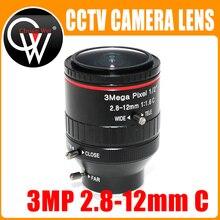 "3 Mega Pixel F1.6 HD 2.8 12mm CCTV lens C Mount Handmatige Varifocale Focal IR 1/2 ""1:1. 6 voor Veiligheid CCTV Camera IP Camera"