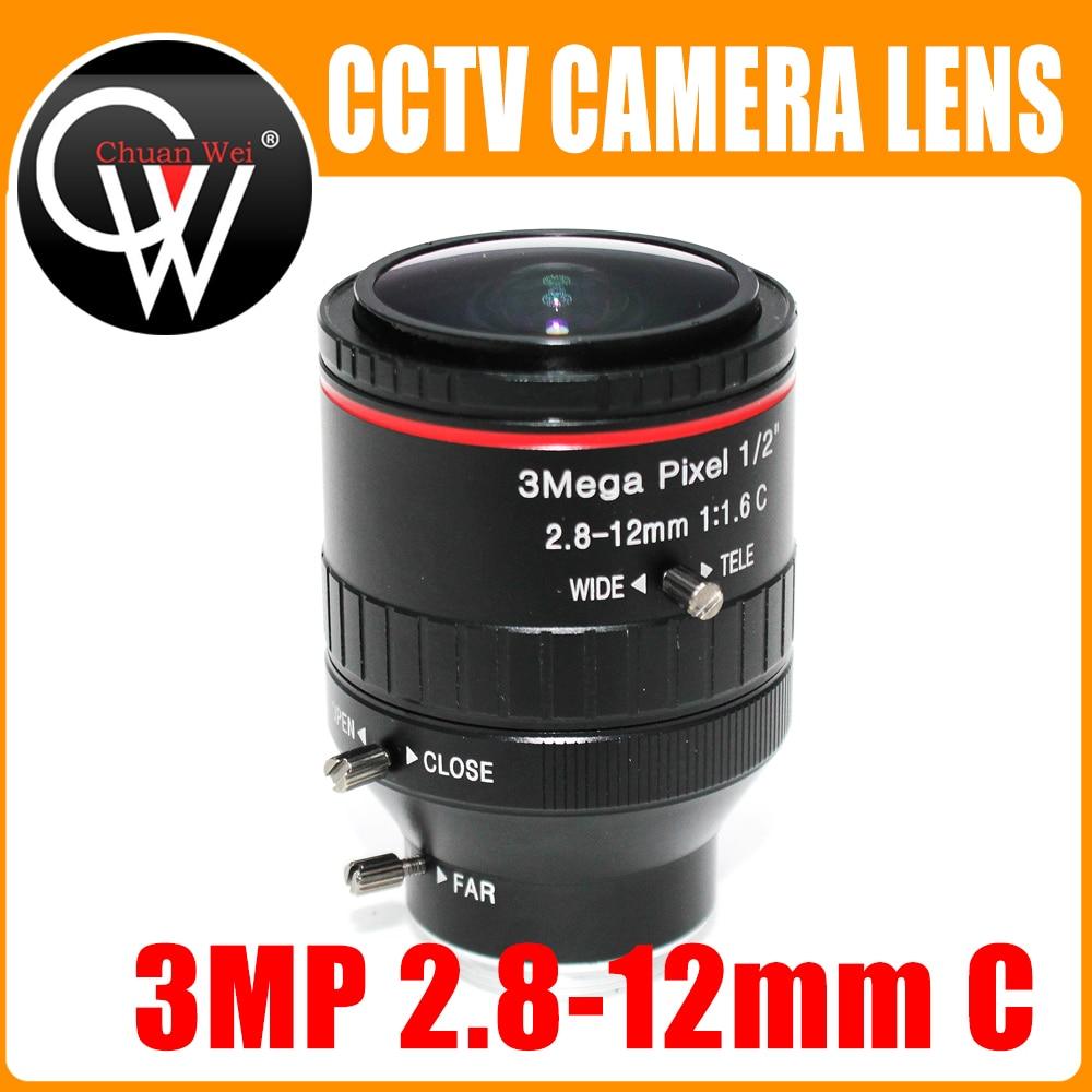 3Mega Pixel F1.6 HD 2.8 12mm CCTV lens C Mount Manual Varifocal Focal IR 1/2 1:1.6 for Security CCTV Camera IP Camera