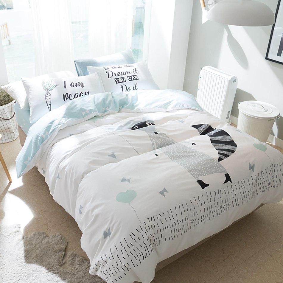 hot sale cartoon fox bedding set queen size 100 cotton duvet cover sets bed sheet or fitted sheet bedspread 4pcs
