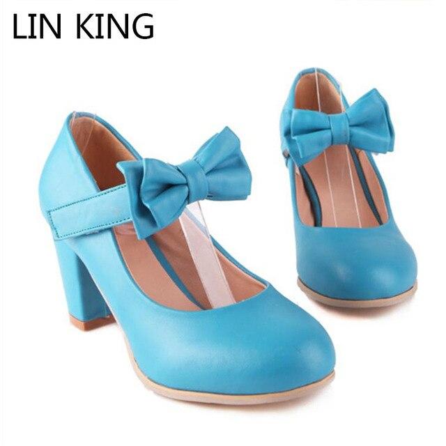 74541afc0bd LIN KING New Lady Sweet Bowtie Lolita Cosplay Party Women Shoes Brand Low  Heel Fashion Round Toe Women Pumps Platform Plus Size