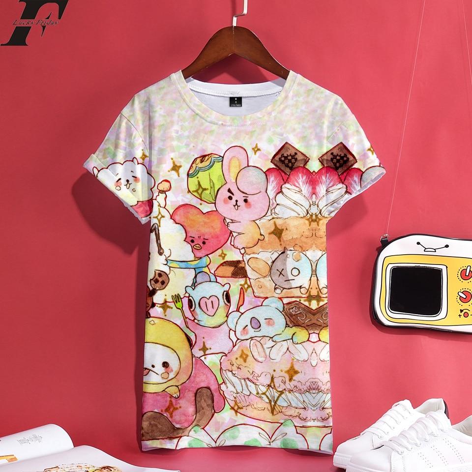 LUCKYFRIDAYF 2018 BTS kpop K-pop 3D Print Anime Short Sleeve T-Shirt Women Cartoon funny T Shirts Tops Summer Clothes plus size