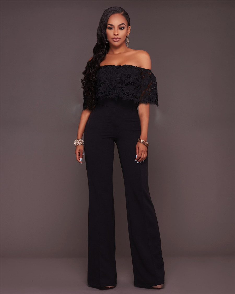 11ba1200324 Maoxzon Fashion Loose Rompers Womens Jumpsuits Black Elegant Slash neck  Full Length One Piece Pants Jumpsuit For Female XL-in Jumpsuits from Women s  ...