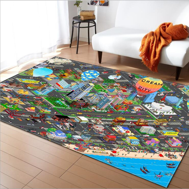 Rectangle Carpets for living room Rug baby bedroom Play Game Mat/carpet City Street Map Printen rugs Child Learning Crawl Tapete