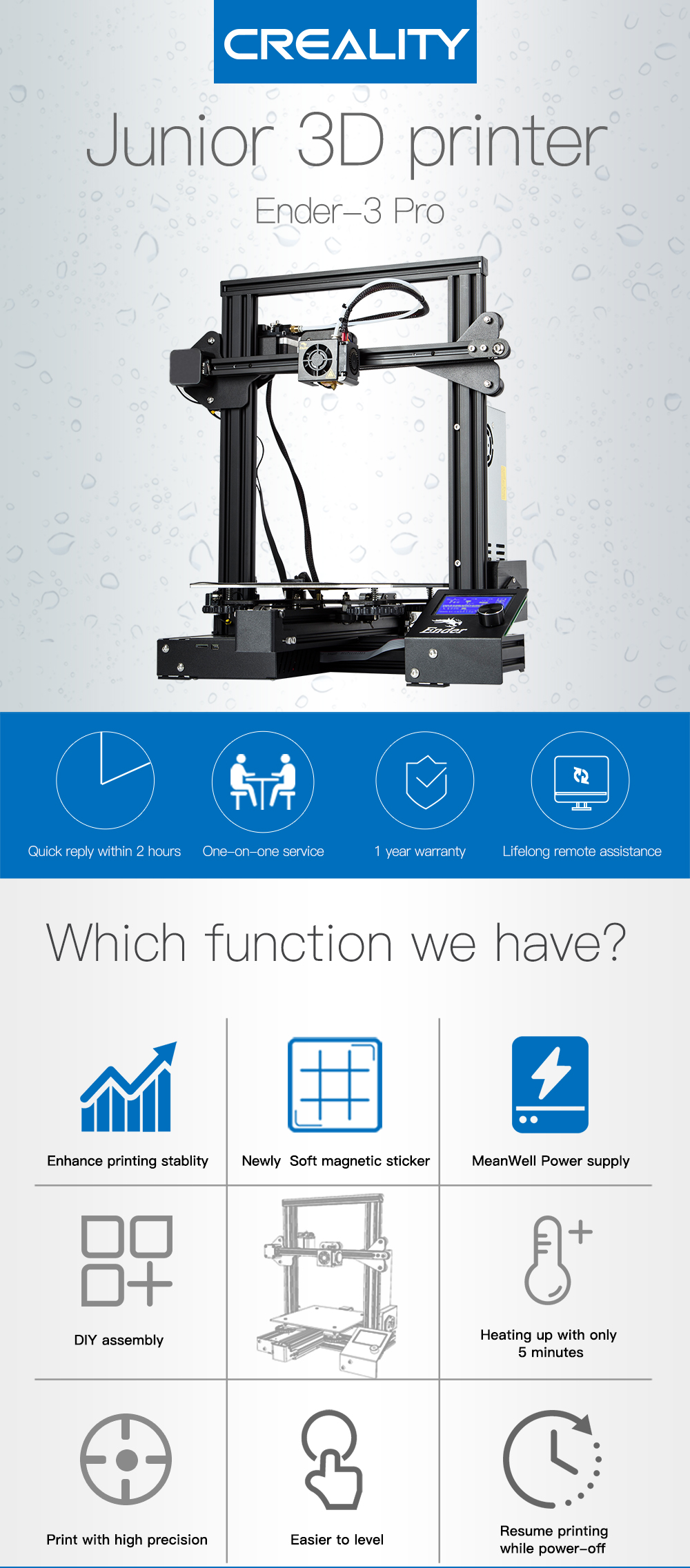 Creality 3D New Ender 3 / Ender-3 PRO DIY 3D Printer drucker impresora 3D  Self-assemble 220 * 220 * 250mm with Resume Printing