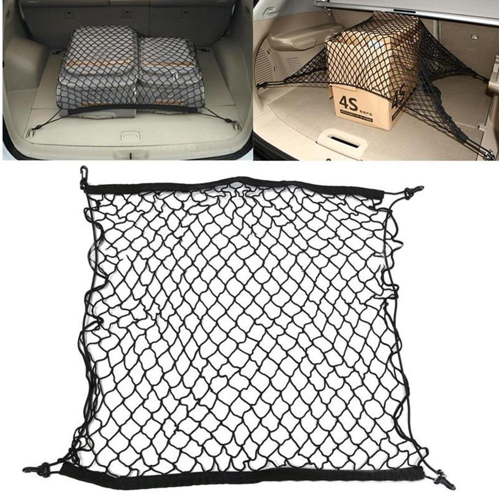 MALUOKASA Auto Care 70 x 70cm Universal Car Trunk Luggage Storage Cargo Organiser Nylon Elastic Mesh Net With 4 Plastic Hooks