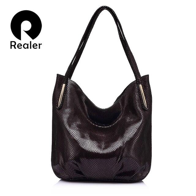 REALER бренд модная сумка из натуальной кожи на плечо для женщин, сумка женская натуральная кожа с изыканным змеиным принтом, женские кожаные сумки через плечо