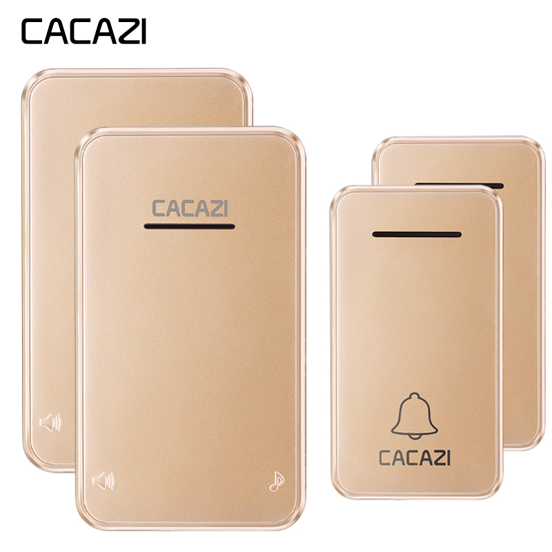цена на CACAZI Wireless Doorbell Waterproof Self-powered No battery Led light US EU Plug Cordless DoorBell chime 2 Button 2 Receiver