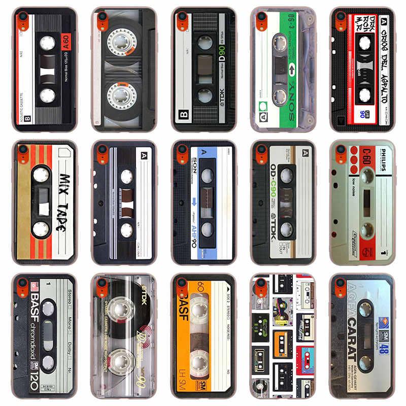 Кассета аудио лента матовые Силиконовые чехлы Чехлы для iPhone 11 Pro X XR XS MAX SE 5 5S 6 6s 7 8 Plus 4S TPU мягкий чехол