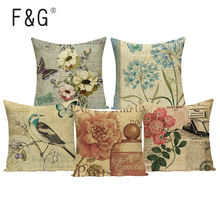 Vintage flor de la planta funda de almohada decoración rosa hogar coche asiento barato cojines Lino estampado funda de cojín del asiento del sofá
