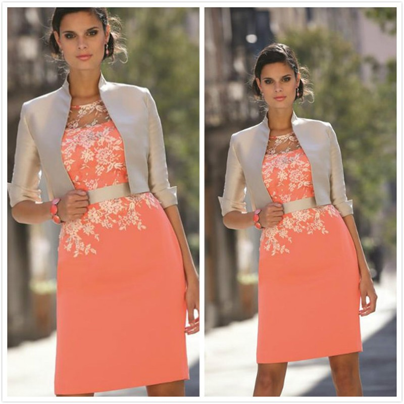 coral color mother of bride dresses