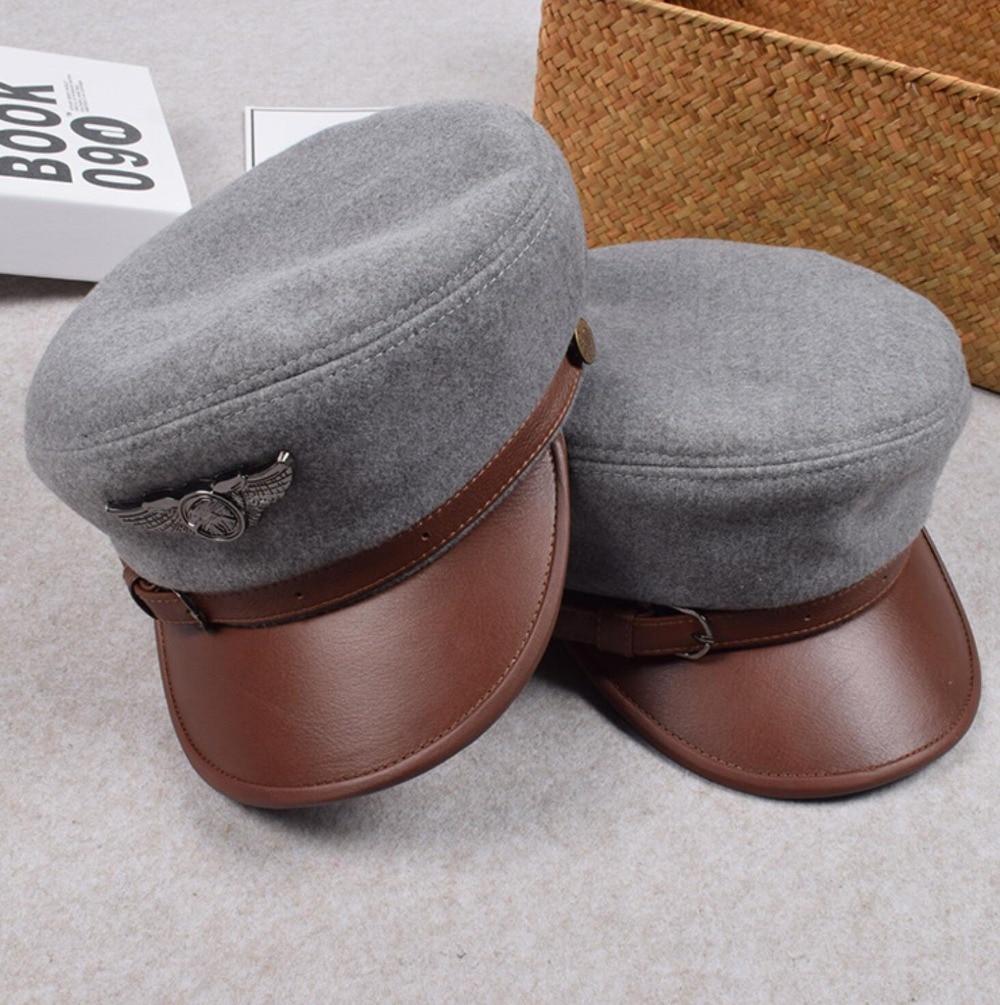 Xongkoro casquette militaire hommes femmes en cuir véritable armée chapeau pour homme femme