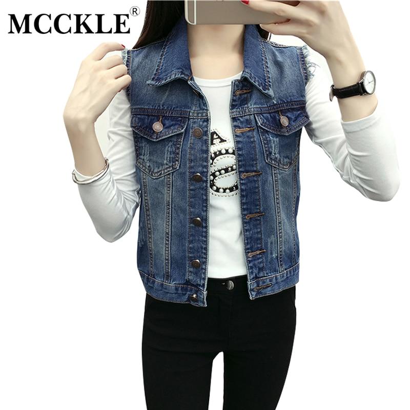MCCKLE Official Store MCCKLE 2017 Autumn Women's Denim Vest Sleeveless Frayed Pocket Button Colete Ladies Street Slim Vintage Waistcoat Femme