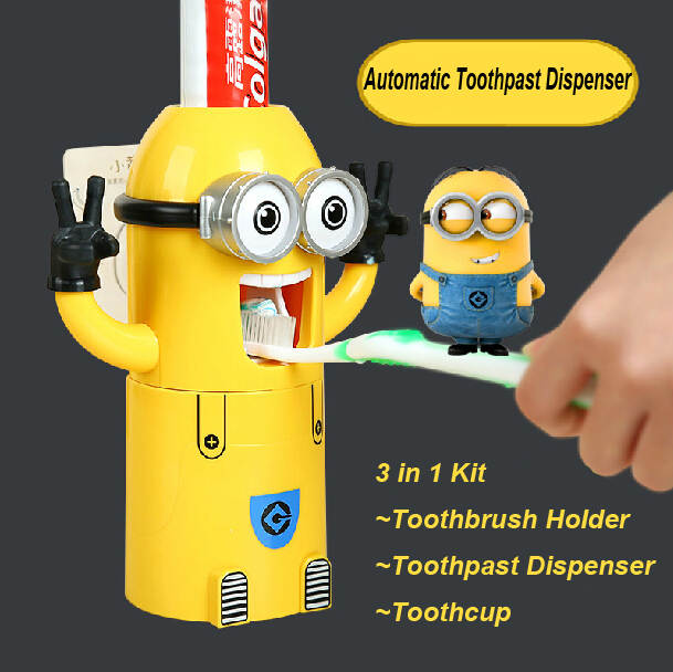 US $12 99 |Minions 3 in 1 Automatic Toothpaste Squeezer with 2pcs  Toothbrush Holder and 1pc Magnetic Tooth Cup Bathroom Organizer-in Hand  Tool Sets
