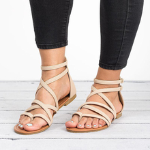 Women's Flat Sandals Strappy Crisscross Gladiator Low Flat Heel Summer Wedge Sandals Shoes Buckle PU Brown Beige Sandals Bandage soft beige metallic buckle flat sandals