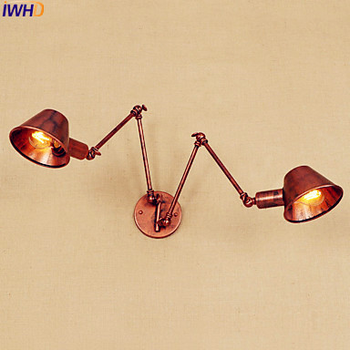 IWHD Loft Retro Vintage Wall Lamp LED 2 Heads Adjustable Long Arm Light Industrial Edison Wall Sconce Wandlamp Lampara Pared iwhd 2 heads black retro led wall light fixtures home lighting iron metal loft industrial vintage wall sconce lamp lampara pared