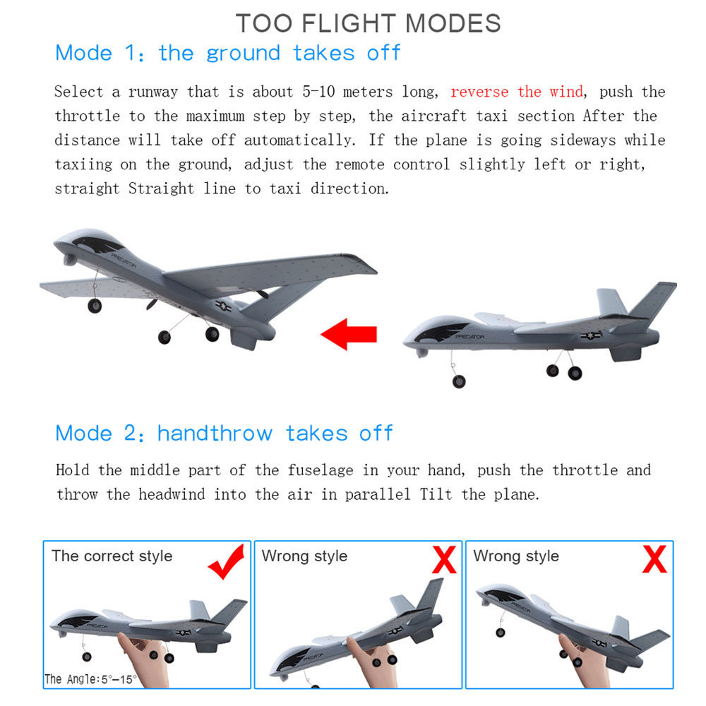 Image 3 - Flying Model Gliders RC Plane 2.4G 2CH Predator Z51 Remote Control RC Airplane Wingspan Foam Hand Throwing Glider Toy Planes-in RC Airplanes from Toys & Hobbies