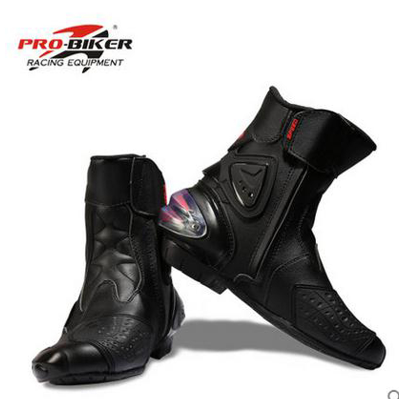 Free shipping Ankle protection motorcycle boots Pro-Biker SPEED boots for motorcyle Racing Motocross Boots BLACK WHITE risk racing 00 110 black motocross grip donuts with blister protection