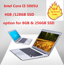 In-tel Core I3 5005U ulttrabook laptop with Backlit keyboard 1920*1080 HD screen 4GB &128GB SSD aluminium notebook computer(China (Mainland))