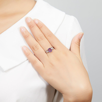 Hutang Natural Emerald Cut Amethyst Ring Solid 925 Sterling Silver Purple Gemstone Fine Jewelry Rings For