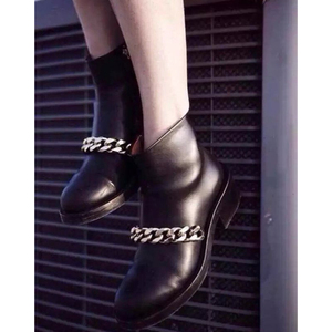 Image 2 - Chains Boots New Chic Gold Silver Chains Black Boots Women Motorcycle Heels Boots Brand Design Zipper Travel Botas For Girls