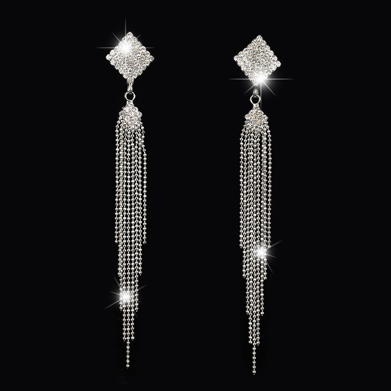 Wholesale New Jewelry sliver Plated Brand Chain Tassel Rectangle Drop Earrings High Quality #E146