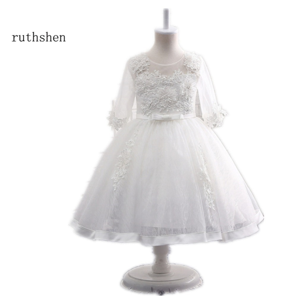 Ruthshen White Fashion Dresses For Girls 2018 Real Photo Lace Flower