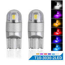 2pcs Car T10 LED Bulbs W5W LED Lamp T10 Wedge 3030 2SMD Interior Lights 12V led 6000K Red Amber yellow Ice Blue(China)