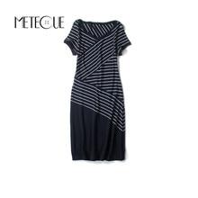 Casual Striped Tshirt Dress New Summer Dresses 2017 Summer Cotton Spandex Short Sleeve Midi Dress New Robe Ete 2017