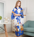 Sexy New Vintage Female Kimono Robe Long Print Nightgown Roayl Blue Sleepwear V-Neck Mujer Pajamas Dressing Gown One Size