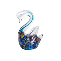 3D Handmade Crystal Swan Figurines Miniatures Ornaments Colorful Glass Animal Crafts For Home Decoration Accessories Gifts