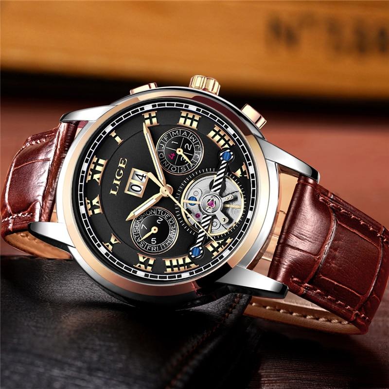 Męskie WatchTop Luxuy marki LIGE Męskie mechaniczne zegarki - Męskie zegarki - Zdjęcie 3